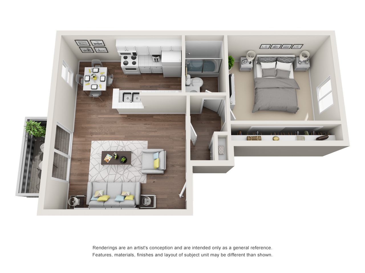 1 Bedroom Plan A (Upstairs Balcony)