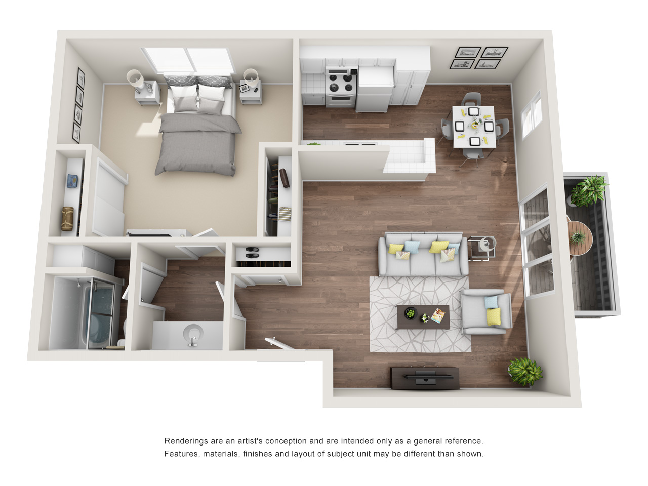 1 Bedroom Plan B (Downstairs Patio)